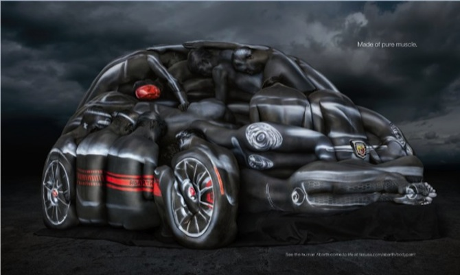 Naked models pose for Fiat 500 Abarth